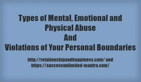 Types of Mental, Emotional and Physical Abuse and Violations of Personal Boundaries