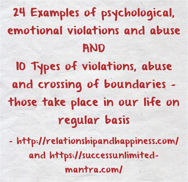 Types of violations, abuse and crossing of boundaries – those take place in our life on regular basis
