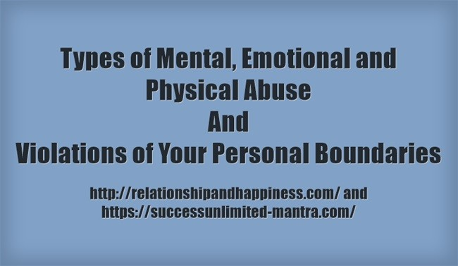 Examples and types of Mental, Emotional and Physical Abuse and Violations of Boundaries